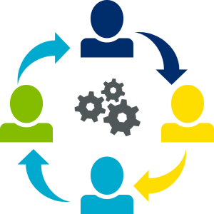 graphic depicting collaboration between people