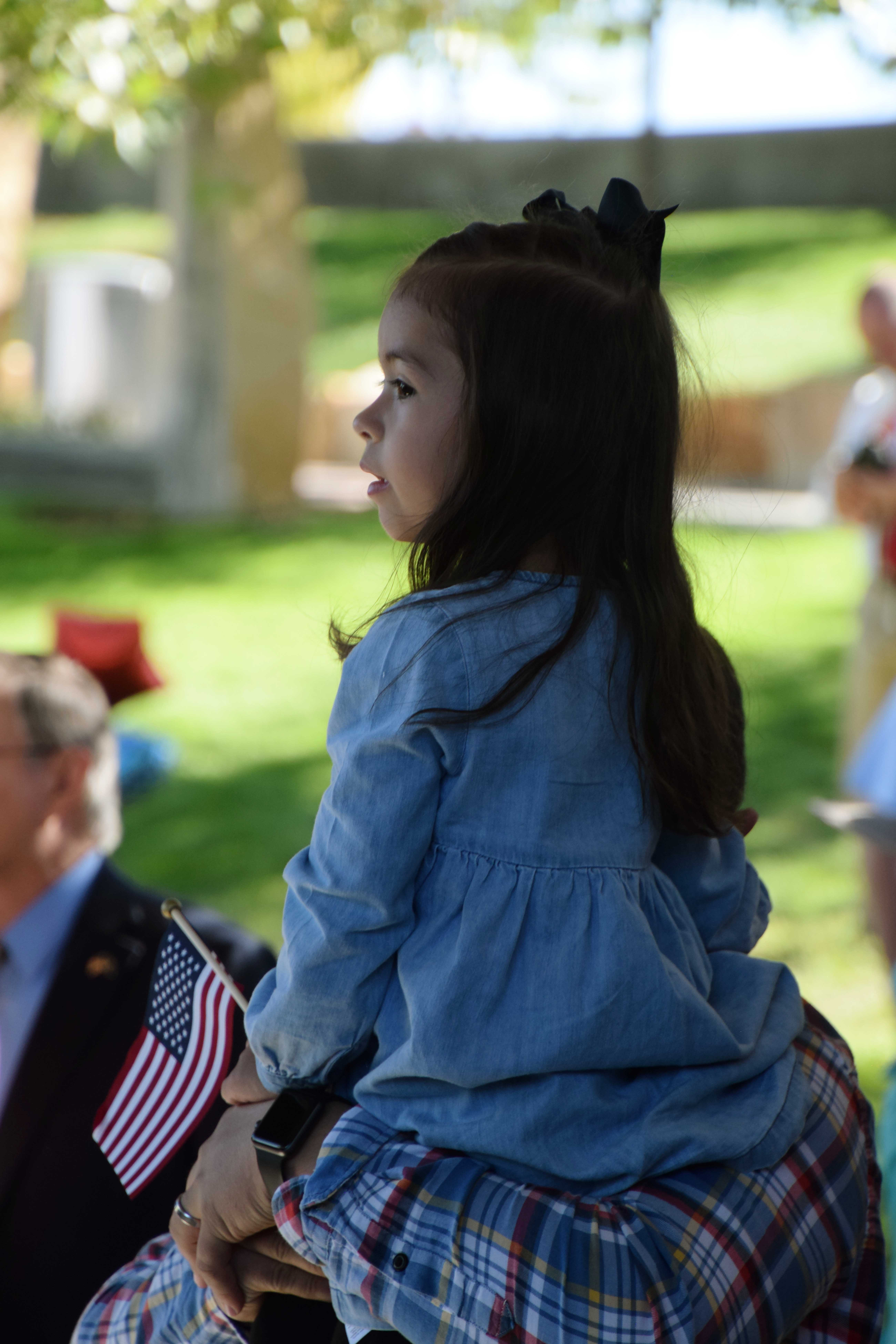 little girl with flag