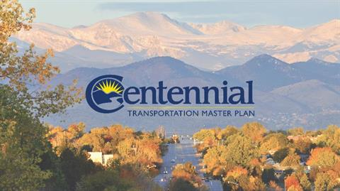 road, fall trees and mountains with Centennial Transportation Master Plan logo on top